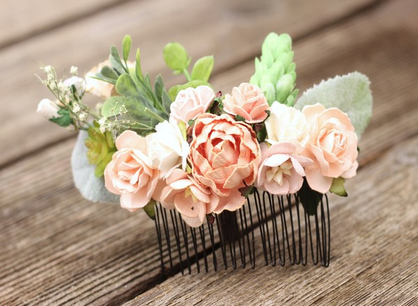Peach flower hair comb wedding floral hair piece blush bridal comb